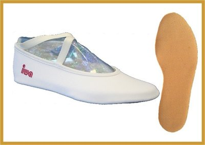 Trampoline schoenen met dubbele voetbanden www.iwa-gymnastics.nl www.lamers-turnsport.com